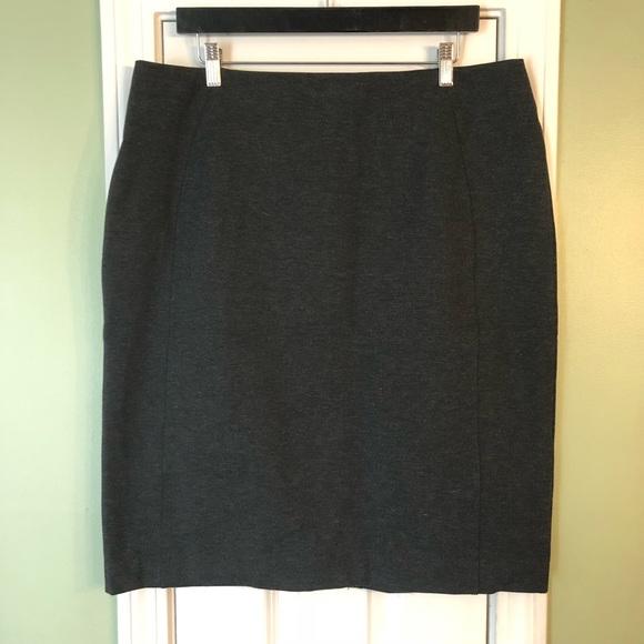 New York & Company Dresses & Skirts - NY&CO Gray Marl Ponte Knit Zip Back Pencil Skirt